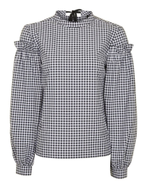 Gingham Mutton Sleeve Top