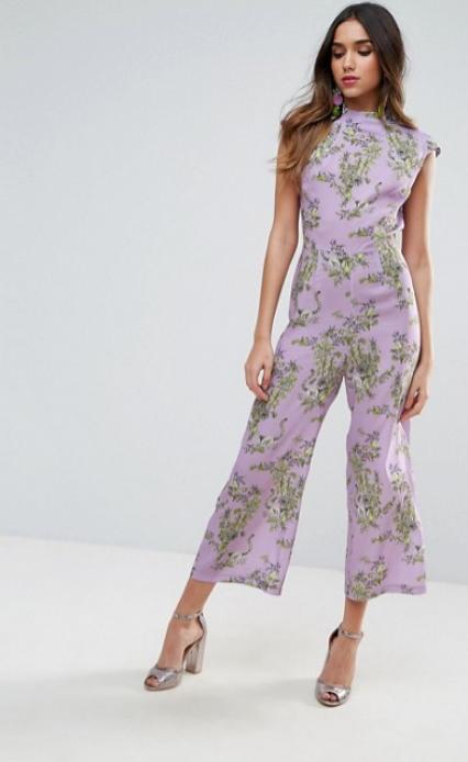 Lavender purple floral print jumpsuit