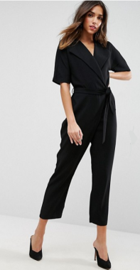 Black Wrap jumpsuit with belt