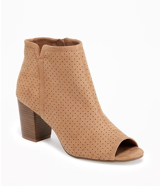 Sueded Peep-Toe Ankle Boots for Women _ Old Navy