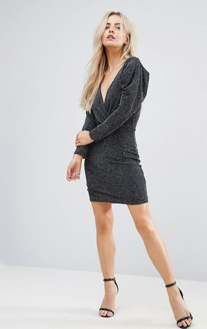 ASOS Boohoo Petite Wrap Puff Sleeves 80s mini dress Black