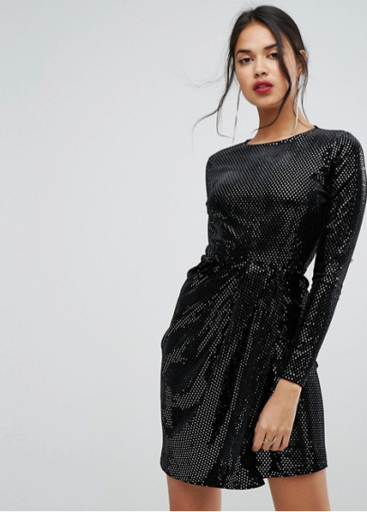 ASOS Pretty Little Thing Glitter Dress Black