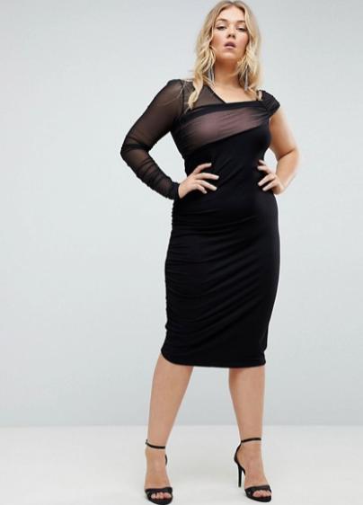 Black ASOS Curve One Shoulder Ruched Mesh Dress
