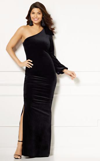Eva Mendes Oksana One Shoulder Maxi dress black