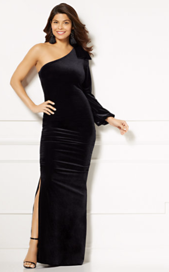 Eva Mendes Oksana One Shoulder Maxi dress black