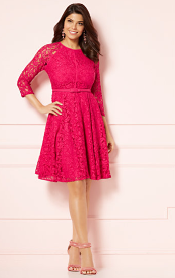 Eva Mendes Veronica Lace Flare Dress Pink