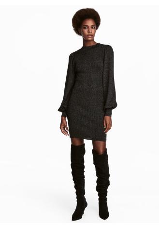 HM Black Glitter Oversized Sweater Dress
