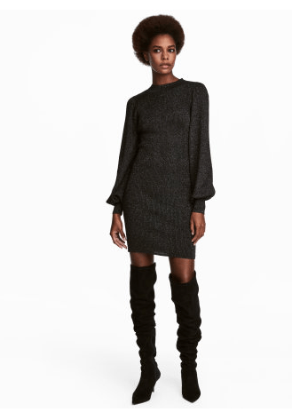 HM Black Glitter Oversized Sweater Dress