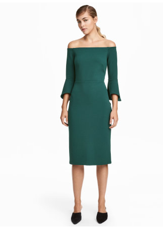HM Green Off the Shoulder Sheath Dress