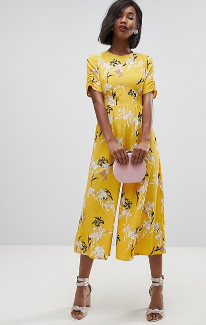 ASOS Yellow Floral Jumpsuit