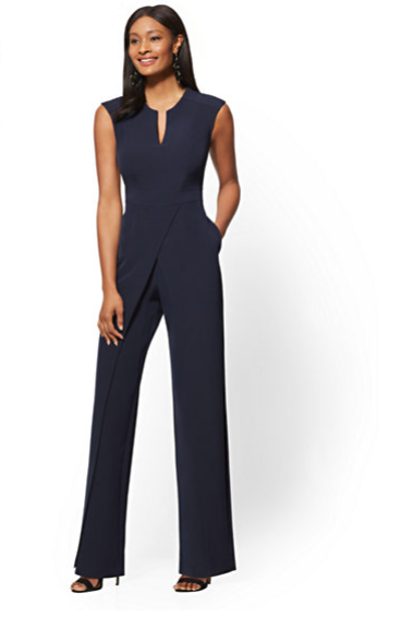 New York & Company Navy Blue Wrap Jumpsuit