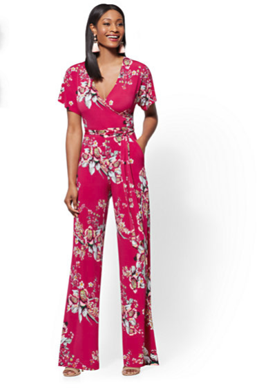 New York & Company Pink Floral Wrap Jumpsuit