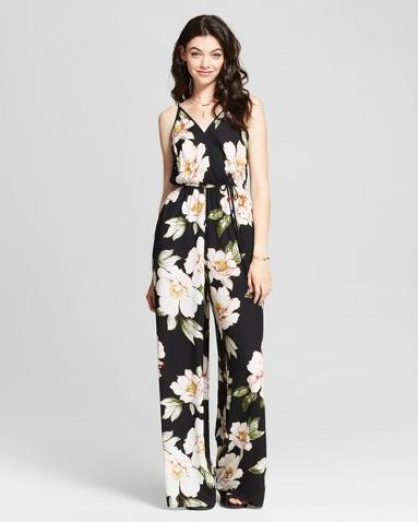 Target Xhilaration Black floral Jumpsuit