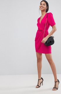 ASOS Design mini wrap dress with belt pink