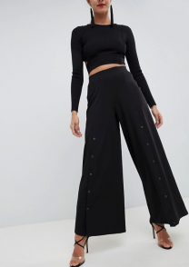 ASOS Design Wide Leg Pants With Popper Front