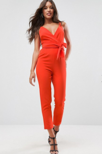 ASOS Design Wrap Front Jumpsuit with peg leg and self belt orange