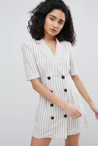 Bershka Stripe blazer dress in cream and black