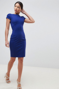 Closet London Pencil dress with ruched cap sleeve in blue cobalt