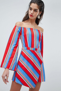 Missguided Stripe Bardo Short Romper Red, White, Blue