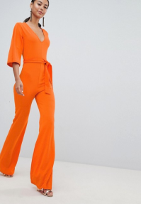 Missguided Tall Belted Jumpsuit Orange