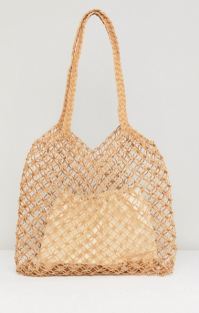 Warehouse Knitted Straw Bag with Removable Pouch