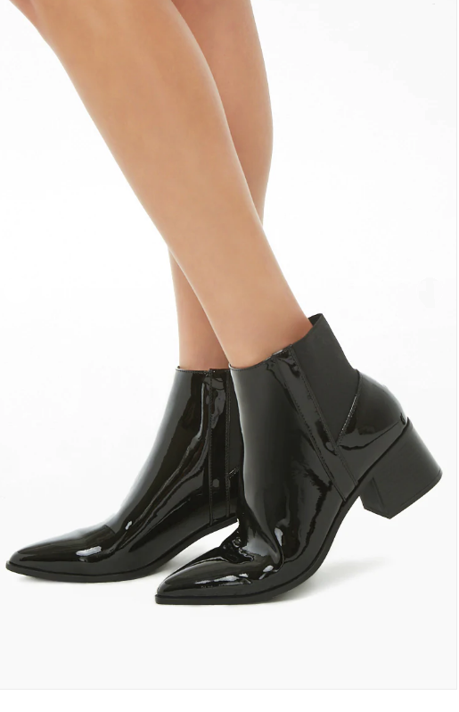 Forever 21 black patent leather bootie