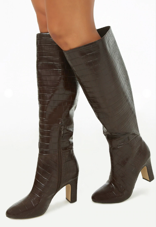 Forever 21 brown faux croc knee high boot