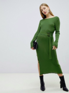 ASOS maxi rib dress green