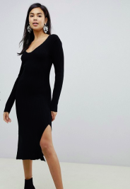 ASOS Midi dress v-neck rib knit