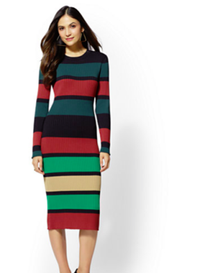 New York & Company Stripe Sweater dress