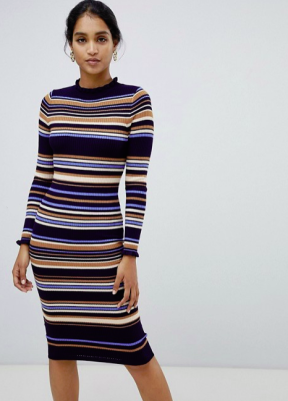 Oasis knitted midi dress in stripe