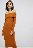 Zibi London off shoulder ribbed sweater dress